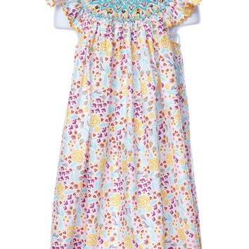 Mom & Me Smocked Happy Flowers Angel Wing Girl's Dress