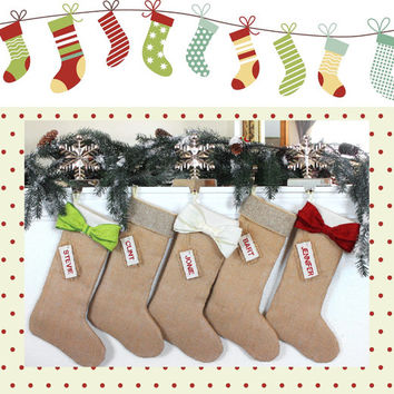 Personalized Christmas STOCKINGS, Burlap stocking