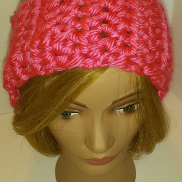 Pink Ear warmer made with Hometown USA yarn!