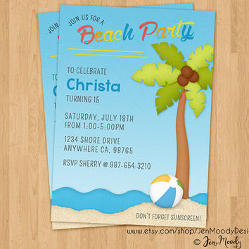 Beach Birthday Invite, Ocean Shores Party Invitation - Printable, Digital, Custom, Beach Ball, Sunscreen, Summer, Water, Waves, Coast