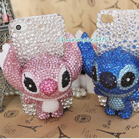 iphone 3/4/4s/5,Apple ipod 4/5,Samsung Galaxy S3/S4/S4 Active,Samsung Note 1/2,Htc One,Blackberry Q10 Z10 Case Bling Gems Lovely 3D Stitch