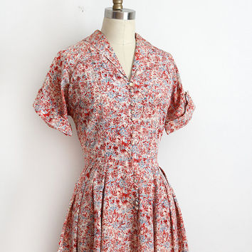 MOVING SALE vintage 1940s dress // 40s 50s red printed day dress
