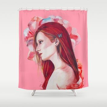 Princess Red Hair Shower Curtain by lostanaw