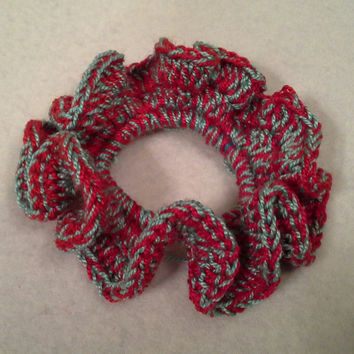 Ponytail hair scrunchie, crochet scrunchie, RED and TURQUOISE hair scrunchie, ponytail hair accessories, hair tie