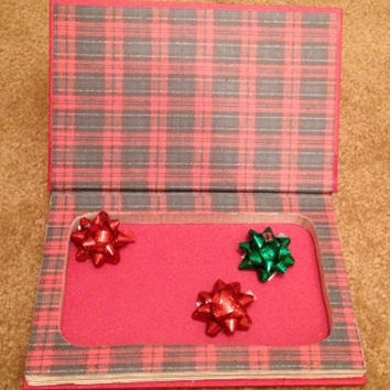 Book Safe Hollow Book / Secret Compartment Box / Christmas Gift / Hidden Treasures / Recycled / Red Green Plaid