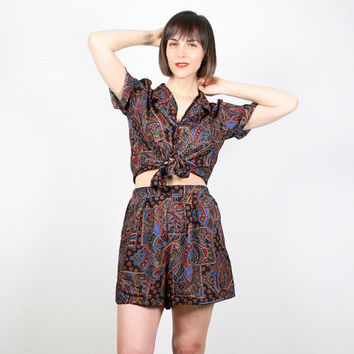 Vintage 80s Matching Outfit Black Paisley Print Shirt Shorts Set Matching Set Two Piece Tie Waist Top High Waisted Shorts Romper M L Large