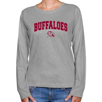 West Texas A&M Buffaloes Ladies Ash Logo Arch Long Sleeve Classic Fit T-shirt