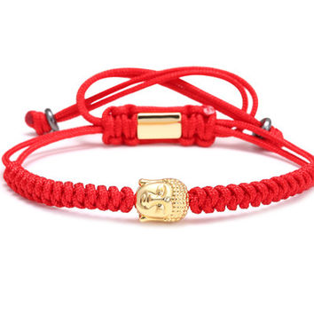 Men Bracelets,4mm 28K Gold Round Beads and Buddha Head Bead Braiding Macrame Bracelet For Men Braided Rope Friendship Bijoux red