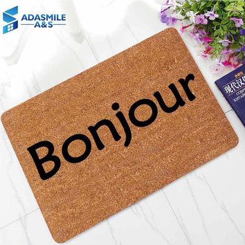 Autumn Fall welcome door mat doormat 45*70cm French Languages Hello Welcome Entrance Indoor Floormat Rugs Hallway Anti-slip Rubber Bath Kitchen Mat for Home Decor AT_76_7