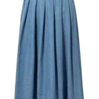 Light Blue Preppy Denim Pleated Skirt
