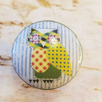 Owl Knobs Drawer Pulls, Patchwork Owl Bird, 1.5 Inch Cabinet Pull Handles, Dresser Knob Pulls, Nursery Knobs, Made To Order