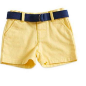 6-12 Months Twill Short with Navy Belt and Adjustable Waist