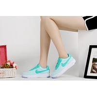 Originals Nike Air Force One 1 Flyknit Low Green / White Women Running Sport Casual Sh