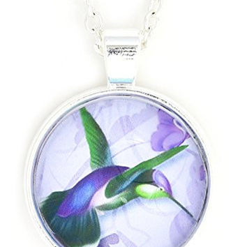 Hummingbird Necklace Silver Tone NW25 Green Vintage Art Print Pendant Bird Fashion Jewelry