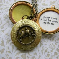Bon Iver Your love will be safe with me locket necklace lovebirds locket gift from groom to bride girlfriend wife lover wedding to bride