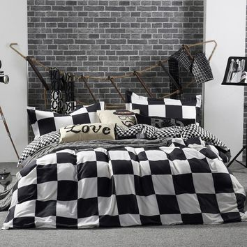 Cool Black White Plaid Duvet Cover Full King Queen Twin Double Size Bedlinens 1.5m 1.8m 2m 2.2m Bed Sheet 4pcs Bedding Set BedclothesAT_93_12