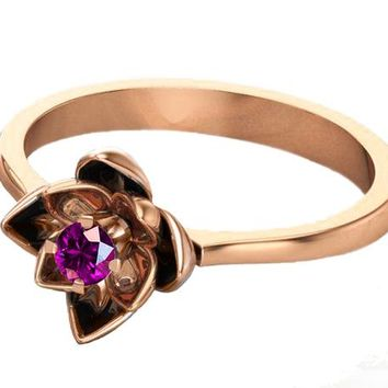 Botanical Ring Amethyst Flower Ring Lotus Ring Purple Flower Ring 18K Rose gold Engagement Ring