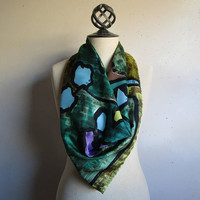 Vintage 70s Abstract Floral Scarf Acetate Dark Green Black1970s Square Screen Print Scarf