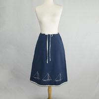 Vintage Wrap Skirt Sailboats Nautical Navy and White Novelty M