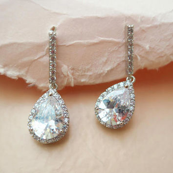Crystal Bridal Earrings Drop AAA Grade Crystal Wedding Earrings Teardrop Art Deco CZ Bridal Earrings Delicate Gatsby Sparkly ALVIRA Luxury