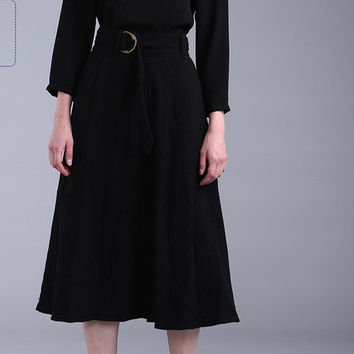 Black High Waist Long Skirt with Belt