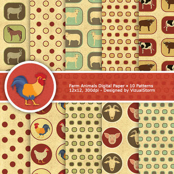 Farm Animals Digital Paper, printable gold vellum backgrounds, pig, goat, sheep, chicken/rooster, horse, donkey, cow/bull, Buy 2 Get 1 Free