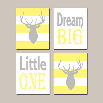 Deer Nursery Decor, Yellow Gray Nursery Wall Art, Dream Big Little One, Boy Nursery Art, Modern Deer Nursery Set of 4 Prints Or Canvas