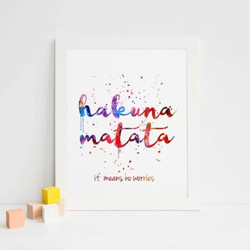 The Lion King Watercolor Nursery Inspirational Kids Room Poster Hakuna Matata Art Print Motivational Quote Wall Art Unframed
