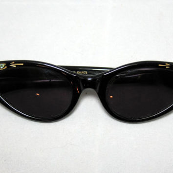 Vintage Cat Eye SunGlasses. Curvy and Pointy Black CatEyes with AB Rhinestones