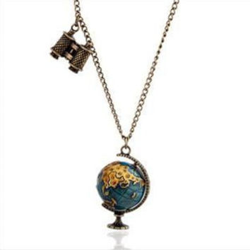 Enamel Earth Globe Telescope Pendant Necklace