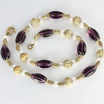 Short Antique crystal Necklace. 15.5 inch choker Art Deco Amethyst Necklace