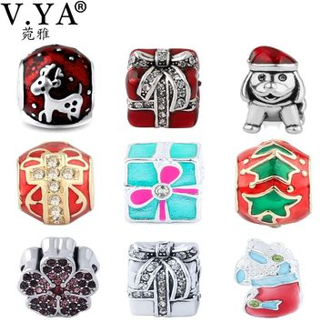 V YA Christmas's Tree Beads fit for Pandora Necklaces Bracelets Children's DIY Charms Women Men Boys Girls Jewelry