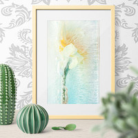 Abstract  Fine Art Large Wall  Print on WaterColor Paper. Limited Edition Print Light Blue Botanical ArtWork, Flower Abstract Decor
