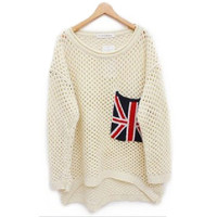 Beige Long Sleeve Pocket Sweater