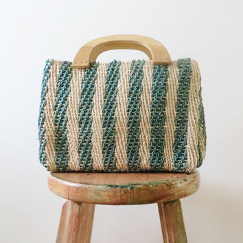 70's Straw Market Bag with Wood Handles Jute Green Stripes Boho Hippie