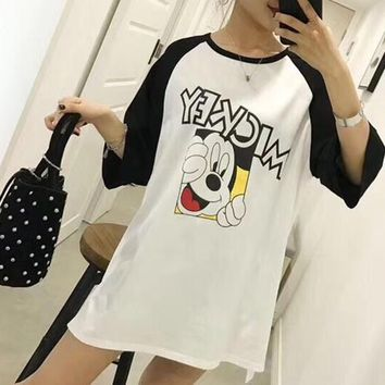 Women Loose Casual Cute Cartoon Mickey Letter Pattern Print Short Sleeve Middle Long Section T-shirt Dress