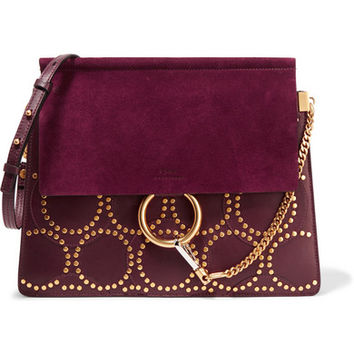 Chloé - Faye medium studded leather and suede shoulder bag