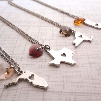 State.Love. State Charm Necklace w/ Swarovski Heart Crystal. Texas, New York, Florida, California