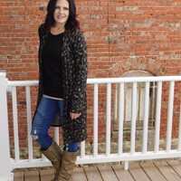 Olive Leopard Print Duster Cardigan