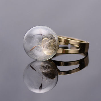 Dandelion Seed Real Flower Rings Resizable Middle Finger Rings For Women Summer Style Fine Jewelry Vintage Retro Cute Rings