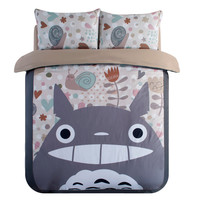 Japanese Anime Lucky Cat Cartoon My Neighbor Totoro Bedding Set Soft Fabric Duvet Cover Set Kids Bed Sheets Twin Queen King Size