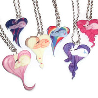My Little Pony Necklace Set, 7 Heart Shape Pony Necklaces