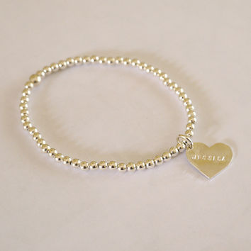 Sterling Beaded Bracelet with Heart Tag