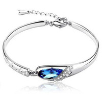 Sterling Silver Plated Crystal Chain Bracelet