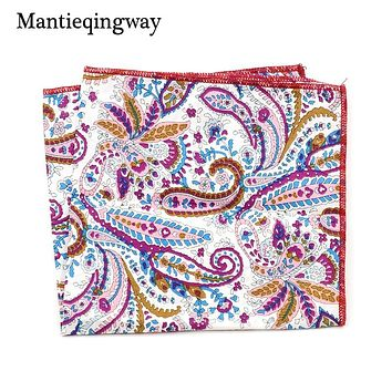 Men's Jacquard Handkerchiefs Export Paisley Vintage Hanky Cotton Pocket Square Hankies Wedding Pocket Square Scarf