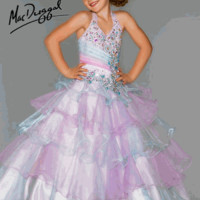 Girls Pageant Dress 81807S Size 2 Aqua/Multi