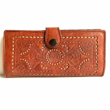Vintage tooled embossed leather wallet, Boho brown leather clutch organizer change coin purse credit card holder, ID,punched cutout leather