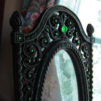 Vintage Syroco Dart Jewelled Mirror Black Mint Green