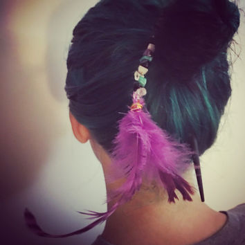 Feather and crystal hair stick