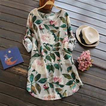LMFOK8 2017 New Round Neck 3/4 Sleeves Flower Print Linen Dresses Knee Length Size Casual Dress Elegant Summer Dress